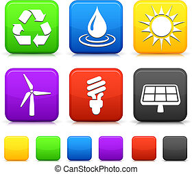 Nature Environment icons on square internet buttons Original...