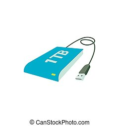 External HDD icon, in cartoon style - External HDD icon in...