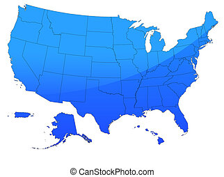 USA map in blue