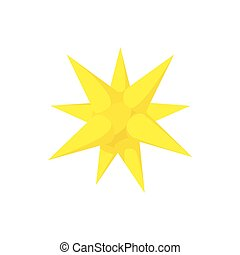 Gold moravian star icon, cartoon style - Gold moravian star...