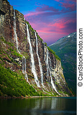 Seven Sisters Falls - Geiranger fjord, Norway - waterfalls...