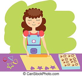 Cooking woman. Vector illustration
