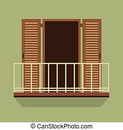 Open Door With Balcony. - Open Door With Balcony Vintage...
