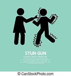 Woman Using A Stun Gun With A Man. - Woman Using A Stun Gun...