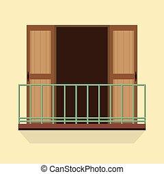 abertos, portas, com, Balcony.,