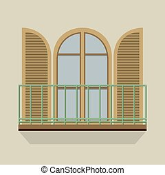 Open Door With Balcony - Open Door With Balcony Vintage...