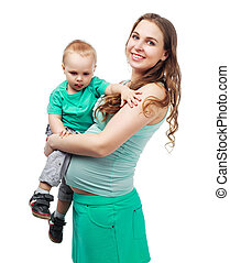 pregnant woman with son - happy beautiful pregnant mother...