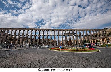 Ancient roman aqueduct in Segovia, Castilla y Leon, Spain