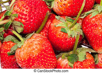 Closeup Group Fresh Red Strawberry