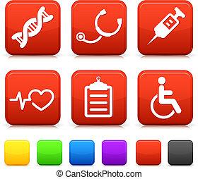 Medical Icons on Square Internet Buttons Original vector...