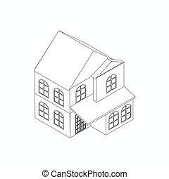 Two-storied detached house icon in isometric 3d style...