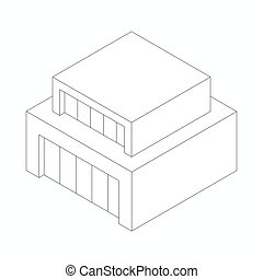 Modern abstract house icon, isometric 3d style - Modern...