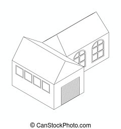 Detached house icon, isometric 3d style - Detached house...