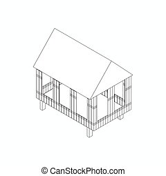 Stilt house icon, isometric 3d style - House made of bamboo...