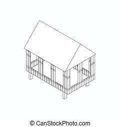 échasse, maison, icône, isométrique, 3D,...