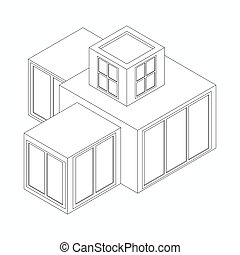 Modern house icon, isometric 3d style - Modern house icon in...