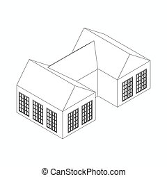 Semi-detached house icon, isometric 3d style - Semi-detached...