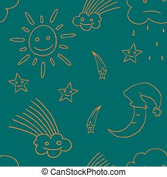 Illustration of star, sun, cloud, moon. Vector3