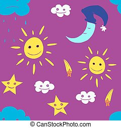 Illustration of star, sun, cloud, moon. Vector2