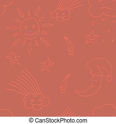 Illustration of star, sun, cloud, moon. Vector4