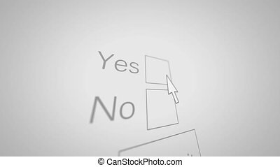 A Computer Mouse arrow marks Yes checkbox and submit button