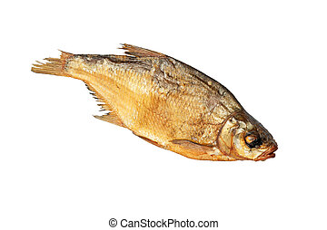 Smoked bream - Smoked fish bream Isolated on white...