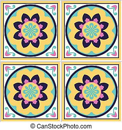 Spanish ceramic tiles with floral pattern