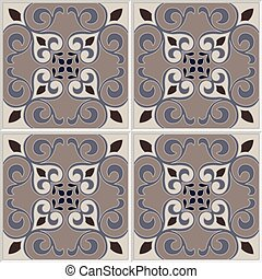 Tile pattern vector seamless with flowers. Portuguese tiles, spanish design.