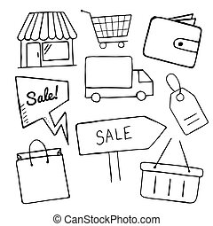 Set of business doodle icons, vector shopping icons for design, hand drawn shop, sale, shopping bag, basket objects