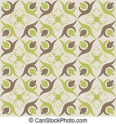 Seamless wallpaper with green brown floral pattern.