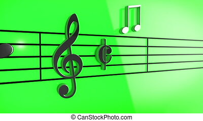 """Animation of Music notes on staves"" - ""3D Music notes on..."