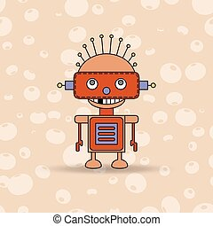 Cartoon vector illustration of a happy little robot with green eyes.