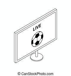 Football match on TV icon, isometric 3d style