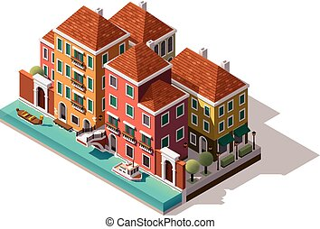 Vector isometric Venice street