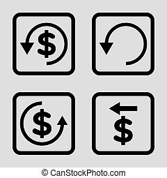 Chargeback Flat Squared Vector Icon - Chargeback vector icon...