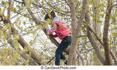 teen girl climbed a tree in spring jacket playing - teen...