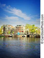 Amstel riverbank, Amsterdam, Holland - Old houses of...