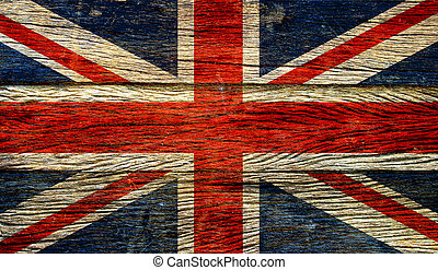 Great britain flag on old wood background retro effect image...