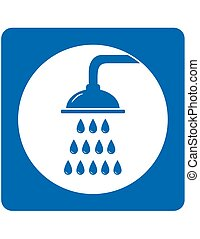 icon with shower and drops - blue icon with shower head and...