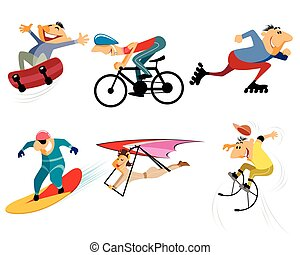 Six sportsmans set - Vector illustration of a six sportsmans...