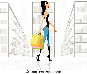 Girl with bags shopping