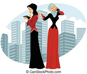 Two businesswomen in city