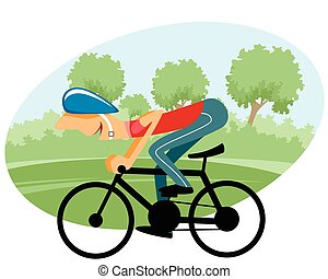 Male cyclist on bicycle