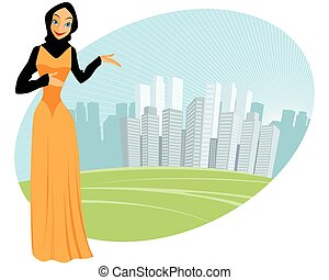 Muslim girl - urban scene - Vector illustration of a muslim...