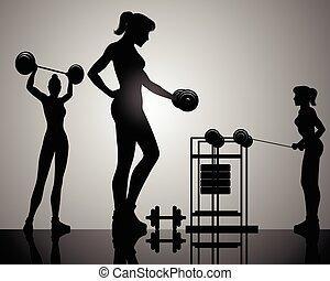 Three girls training