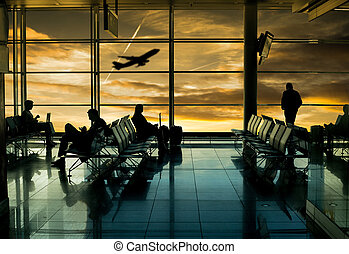 Airport terminal ,passenger wait for transportation with...