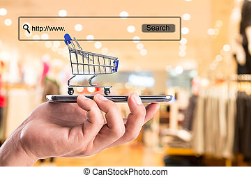 shopping cart and money with your e-commerce