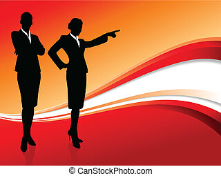 businesswoman executive on abstract red background