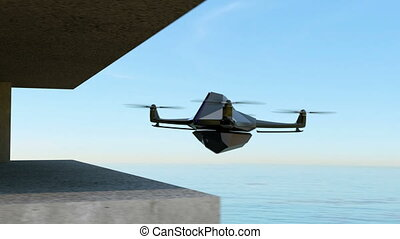 Stealth drone hovering in the sky - Animation of stealth...