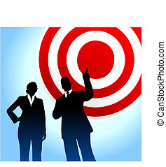 Bull\'s eye target background with business executives -...
